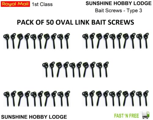 50 Bait Screws Oval Loop Carp Fishing Terminal Tackle Pop Up Boilie Ronnie Rigs