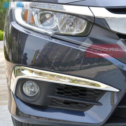 2x Chrome Front Bumper Eyelid Trim for Honda Civic 10th Sedan 2016 2017 2018