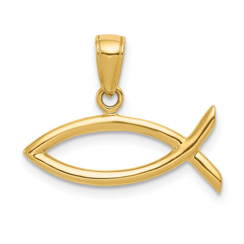 14k solide or jaune horizontale religieux Ichthus Poisson Pendentif 16x22mm 1.15 G