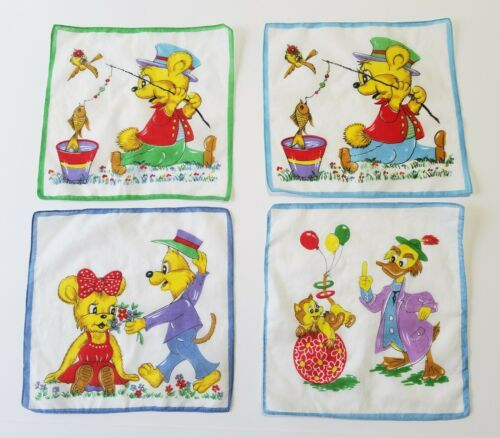 Small Vintage Handkerchief with Circus theme Finnish vintage Tissue Cotton Hanky for Children