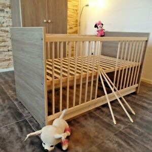 Babybett Gitterbett Komplett Set Kinderbett 70x140 UMBAUBAR Eiche-Cafe Gravur