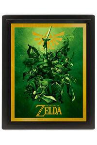 Legend-of-Zelda-Cuadro-Efecto-3D-Enmarcado-Link-26-x-20-cm
