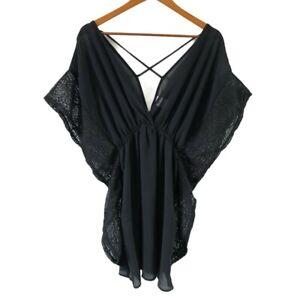 Xhilaration Women's Black Lace Kaftan Dress Size S Short Dress Boho Design