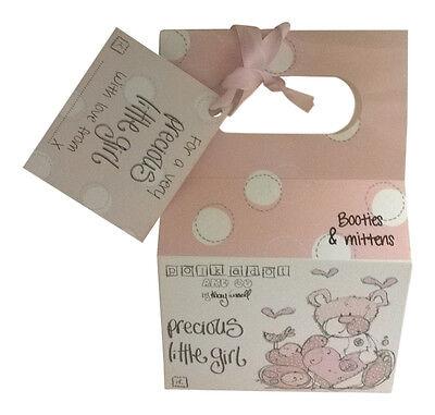 Precious Bambina Scarpine Per Neonato E Muffole Set Baby Shower Rosa Scatola Regalo-