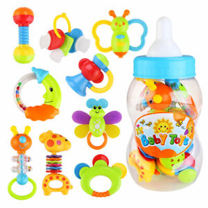 9pcs bébé hochet et Dentition Easy Grip, Bébé Jouet Bébé Activité jouets Ensemble Cadeau UK