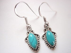 Small-Blue-Turquoise-Marquise-925-Sterling-Silver-Dangle-Earrings