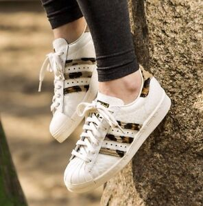 Image is loading Adidas-Superstar-80-s-Animal-Leopard-Trainers