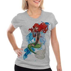 arielle tattoo damen t-shirt meerjungfrau biker rocker märchen usa amerika star | ebay