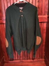 PENDLETON Med Mens Green Virgin Wool Sweater w/ Tan Elbow Patches Pullover Vtg