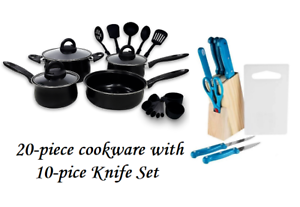 Keimav-20-piece-Cookware-with-Nylon-Utensil-w-10-piece-Knife-Set-Blue