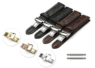 Genuine Leather Watch Strap Band Silver Depolyant Buckle 14-22mm For Men Women