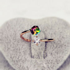 Gold Plated DOUBLE STONE RING Cube And Round Crystals ADJUSTABLE Thumb Wrap Gift
