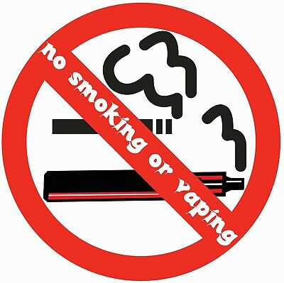 No Smoking or Vaping Stickers 50mmx10 waterproof vinyl signs for car taxi