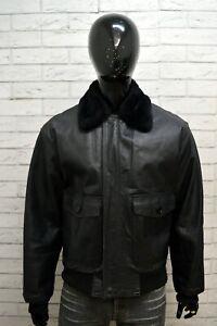 Giubbotto-Uomo-Vera-Pelle-Nero-MONTEREGGI-Taglia-52-Giacca-Jacket-Man-Leather