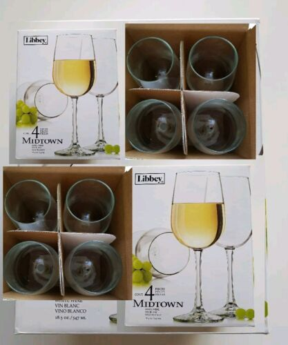 Libbey 18 Ounce Midtown White Wine Glasses 8 Piece Set 2 Boxes of 4 New