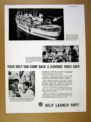 1960 Project HOPE ss hospital ship health care doctor charity vintage print Ad