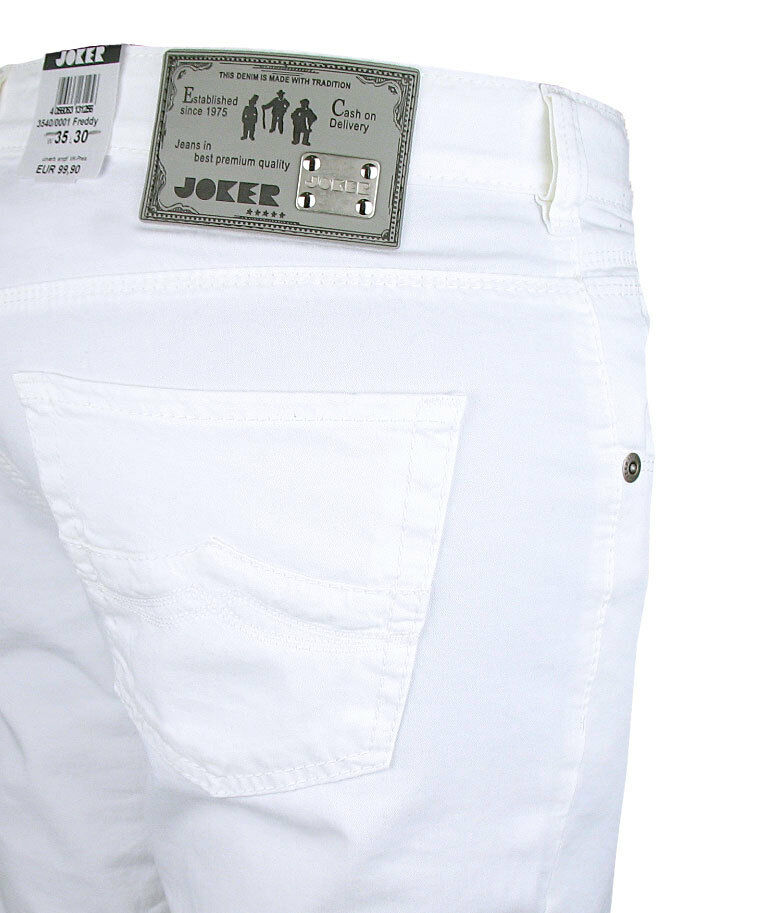 Joker Men's Jeans Freddy (Straight Fit) White White Stretch Gabardine
