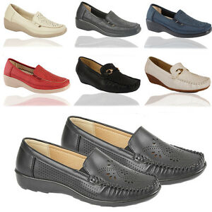 Ladies-Casual-Office-Work-Pumps-Loafers-Ballerina-Moccasins-Shoes-SIZE-UK-3-8