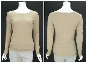 Womens-Mazzini-100-Cashmere-Jumper-Sweater-Long-Sleeve-Camel-Crew-Neck-Size-S