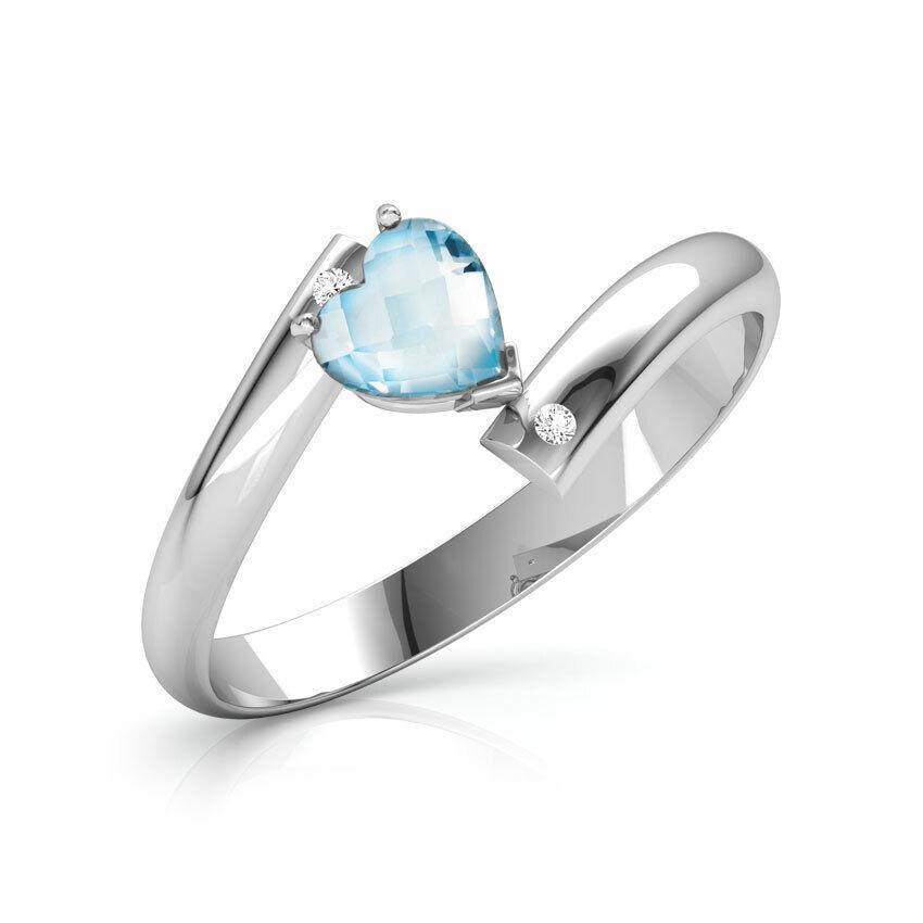 1add27ce12086 ByPass Diamond Aquamarine bluee Cut 1Ct Engagement Heart Over gold ...