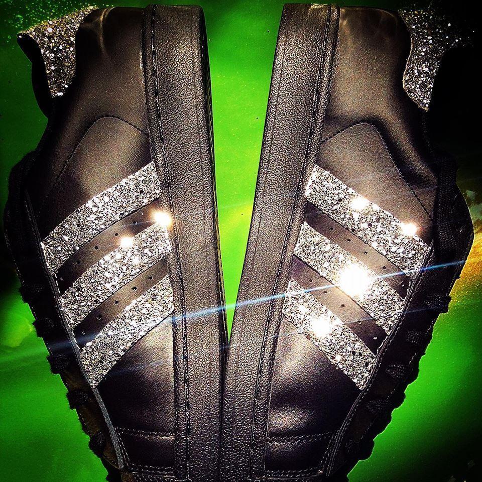scarpe glitter adidas superstar  con glitter scarpe argento 841c8d