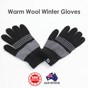 SHEEP-WOOL-MEN-GLOVES-Winter-Snow-Ski-Plain-Knit-Warm-Thermal-Colour