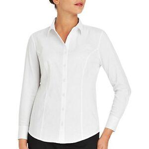 5e536c4b6096 George Women's Arctic White Button Up Shirt Varigated Stripe 3/4 ...