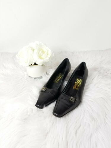 Salvatore Ferragamo Black Kitten Heels Size 9.5