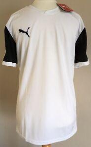 Bnwt-Mens-Puma-Dry-Cell-White-Black-Sports-T-Shirt-Top-Size-Medium-Football