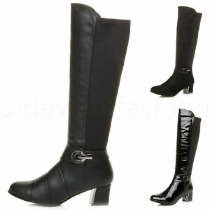 WOMENS LADIES MID FLARED BLOCK HEEL ZIP BUCKLE STRETCH LAYERED CALF BOOTS SIZE