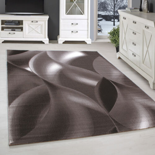 Teppich Kurzflor Grau Beige Rot Modern Meliert Wellen Designer Wohnzimmer NEU