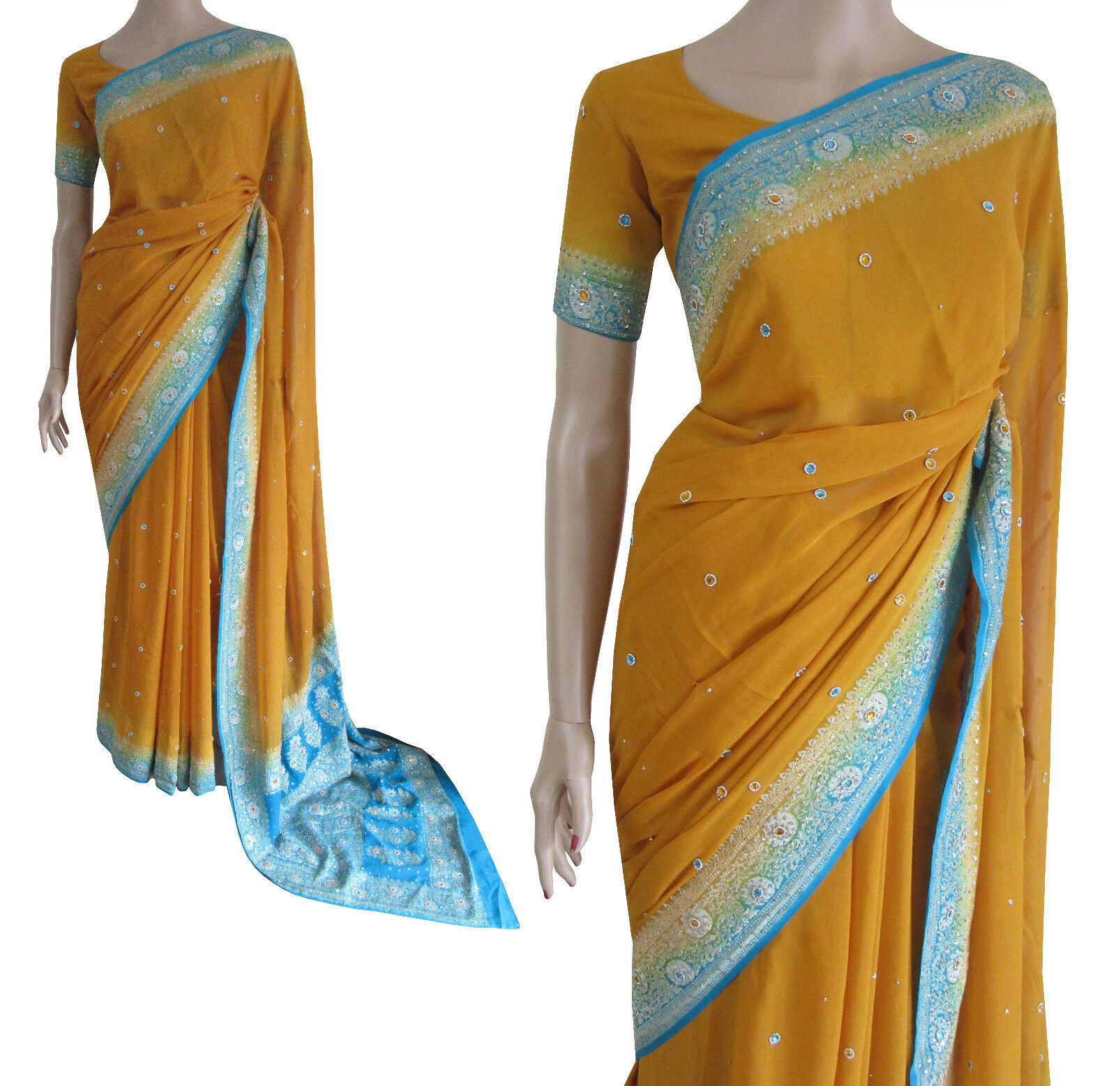 Party Wear Bollywood Yellow Turquoise Party Wedding Saree SALE