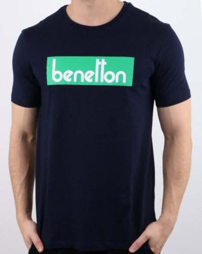 United Colours of Benetton Box Logo T Shirt en Bleu Marine-ras-du-cou à manches courtes