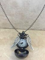 Harry Potter Golden Snitch Locket Pendant Necklace with SECRET WATCH