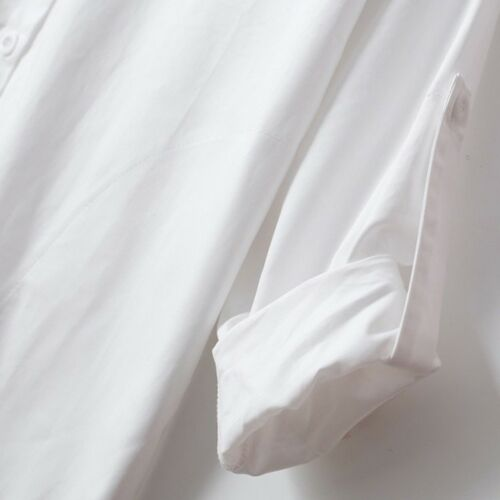 Womens White Oversized Long Shirt Button Down Dress Boyfriend Style Loose Blouse