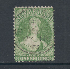 New-Zealand-Sc-37a-SG-125-used-1864-72-1sh-dull-yellow-green-unlisted-co-Cert