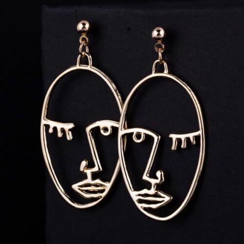 """Art Deco Abstracto Cortar Cara Oro Tono Pendientes con Pasador /""""vendedor del Reino Unido/"""" GFC1"""