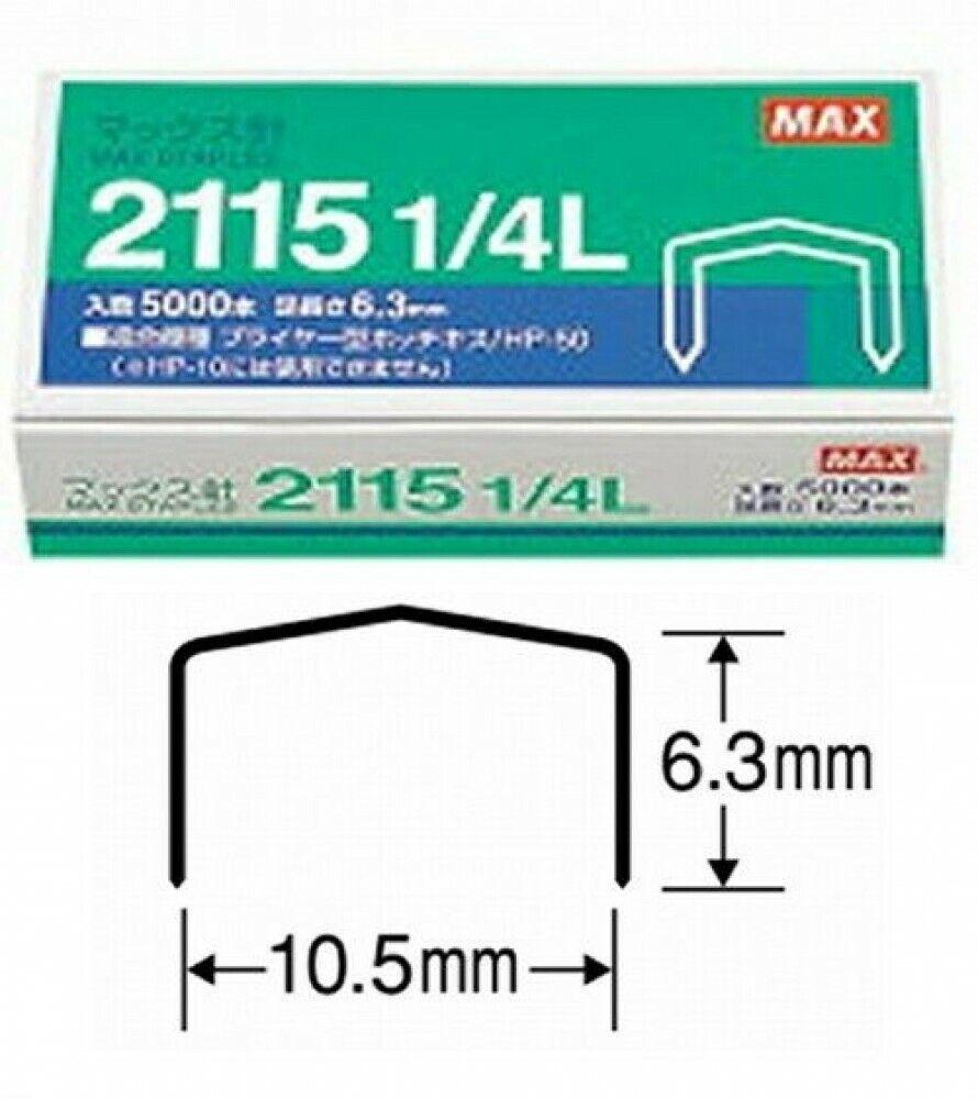 2 Boxes MAX 2115 1//4 B-8 6.3mm leg length 5000 Staples for HD-88R HP-88 Stapler