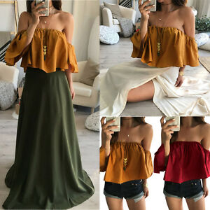 Sexy-Women-Summer-Short-Sleeve-Off-Shoulder-Backless-Casual-Top-Blouse-T-Shirt