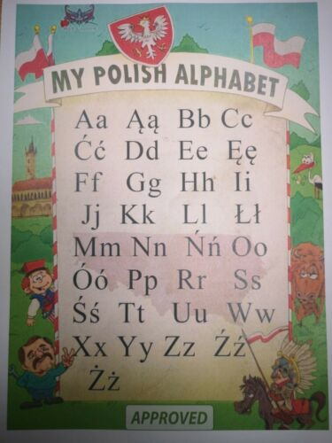 My Polish ALPHABET Educational Poster Laminated for kids A4
