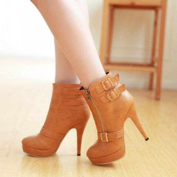 stivali stivaletti invernali scarpe stiletto simil pelle 11 cm marrone 9368