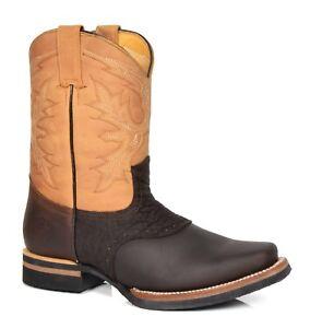 Détails sur Bottes Cowboy Marron Multi Cuir à Enfiler Bout Carré Style Western Grinders Bottes afficher le titre d'origine