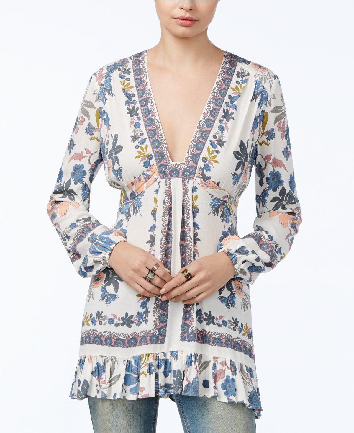 Free People Woherren New Ivory Floral lila Hill Plunging Ruffle-Detail Top Sz 6