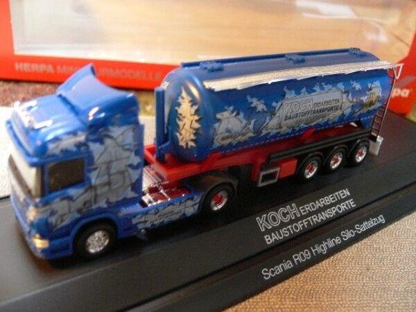 1 87 Herpa Scania R Silo-Semi-remorque Silo-Semi-remorque Silo-Semi-remorque Koch Matériaux de construction 121491 PC-Box fcf3c6