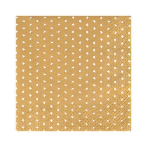 20er Pack serviettes Petites étoiles or 33x33cm Papier Home Fashion Wa