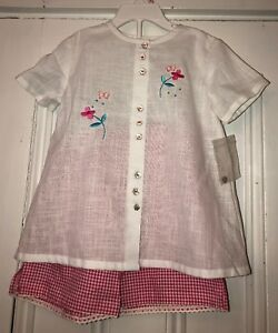 fb8e411f8c8e SARAH LOUISE TODDLER GIRLS SHORT SET OUTFIT PINK WHITE GIGHAM SZ 3Y ...