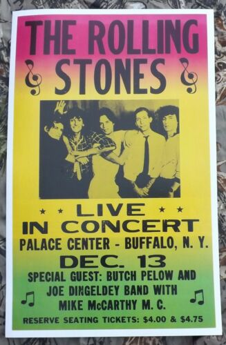NY Vintage Rolling Stones Concert Poster 1965 Palace Center Buffalo