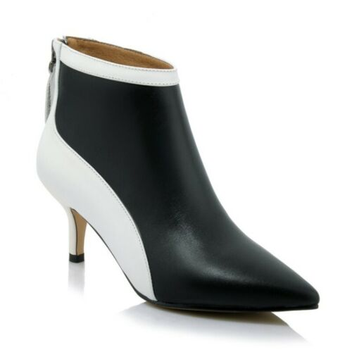Details about  /Womens Synthetic Leather Pointy Toe Ankle Boots Back Zip Splice Color Casual New