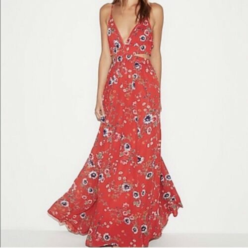Express Red Floral Cut-out Maxi Dress, S