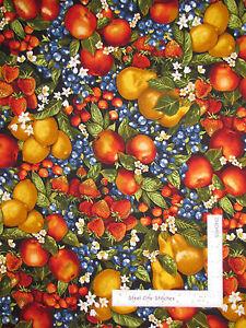 Fruit-Pear-Cherry-Strawberry-Apple-Cotton-Fabric-Robert-Kaufman-Kiss-Cook-Yard